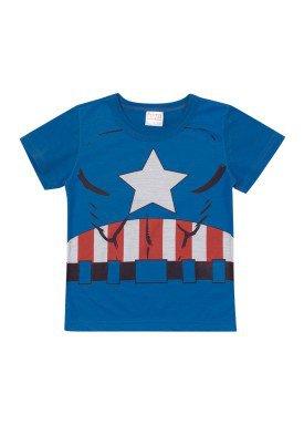camiseta meia malha bebe masculina capitao america azul marlan a6010