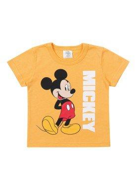 camiseta meia malha bebe masculina mickey amarelo marlan d4194