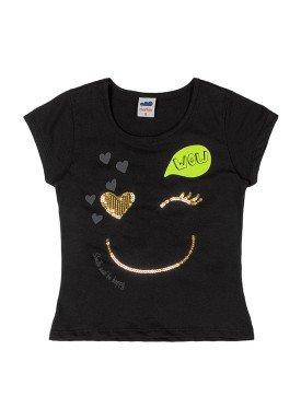 camiseta meia malha infantil feminina wow preto marlan 44768