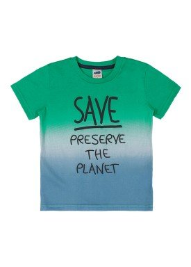 camiseta meia malha infantil masculina save the planet verde marlan 42501