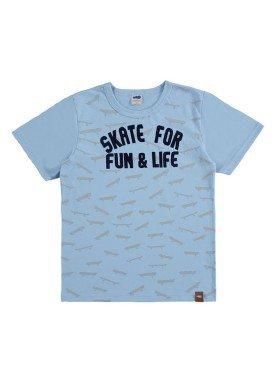 camiseta meia malha infantil masculina skate azul marlan 64617