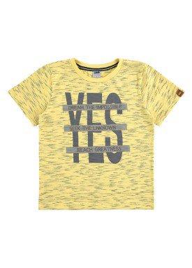 camiseta meia malha jet infantil masculina yes amarelo marlan 64602