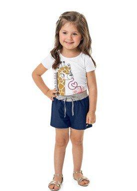 conjunto blusa e short infantil feminino girafa branco marlan 42478 1