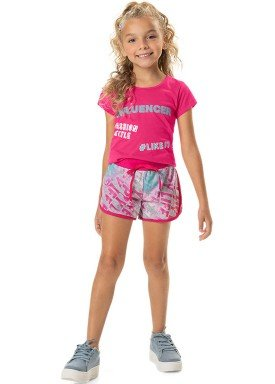 conjunto blusa e short infantil feminino influencer rosa marlan 44760 1