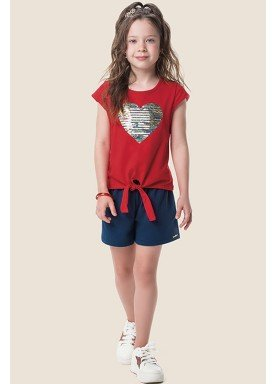 conjunto blusa e short infantil feminino love vermelho marlan 64642 1