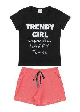 conjunto blusa e short infantil feminino trendy girl preto marlan 64568