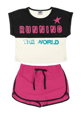 conjunto blusa e short saia infantil feminino running preto marlan 44763