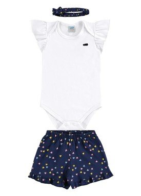 conjunto body e short bebe feminino coracoes branco marlan 60425