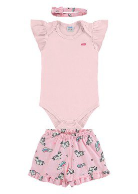 conjunto body e short bebe feminino unicornios rosa marlan 60425