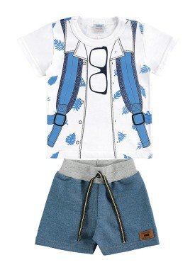 conjunto camiseta e bermuda bebe masculino estampado branco marlan 60405 1