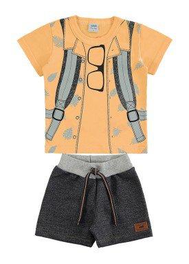 conjunto camiseta e bermuda bebe masculino estampado laranja marlan 60405