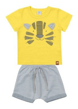 conjunto camiseta e bermuda bebe masculino tigre amarelo marlan 60406