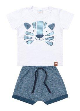 conjunto camiseta e bermuda bebe masculino tigre branco marlan 60406