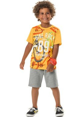 conjunto camiseta e bermuda infantil masculino freestyle amarelo marlan 44779 1