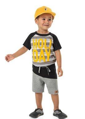 conjunto camiseta e bermuda infantil masculino holiday preto marlan 42506 1