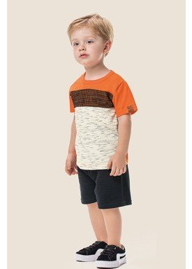 conjunto camiseta e bermuda infantil masculino laranja marlan 62493 1