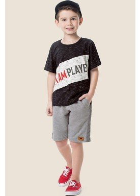 conjunto camiseta e bermuda infantil masculino player preto marlan 64615 1