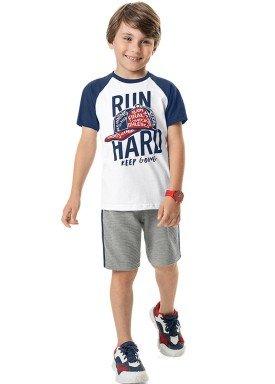 conjunto camiseta e bermuda infantil masculino run hard branco marlan 44790 1