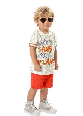 conjunto camiseta e bermuda infantil masculino save our planet marfim marlan 42503 1