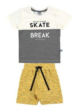 conjunto camiseta e bermuda infantil masculino skate marfim marlan 62506