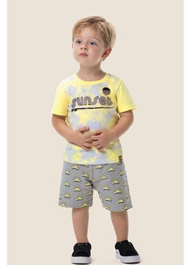 conjunto camiseta e bermuda infantil masculino sunset amarelo marlan 62516 1