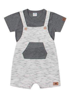 conjunto jardineira e camiseta bebe masculino mescla marlan 60440