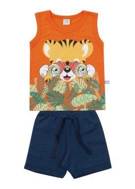 conjunto regata e bermuda bebe masculino tiger laranja marlan 60420