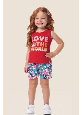 conjunto regata short infantil feminino love vermelho marlan 62462 1