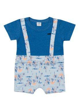 macacao curto meia malha bebe masculino beach azul marlan 60416