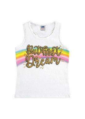 regata cotton infantil feminina dream branco marlan 64570