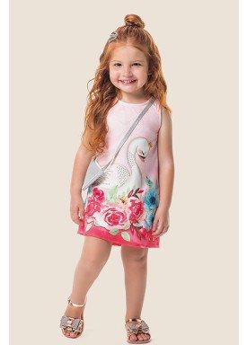 vestido com bolsa infantil feminino cisne rosa marlan 62489 1