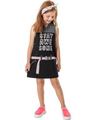 vestido cotton com capuz infantil feminino awesome preto marlan 44764 1