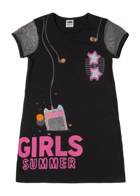 vestido cotton e tule infantil feminino summer preto marlan 44761