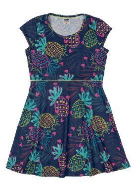 vestido cotton infantil feminino abacaxis marinho marlan 44766