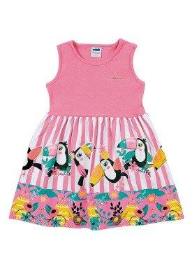 vestido cotton infantil feminino tucanos rosa marlan 62475
