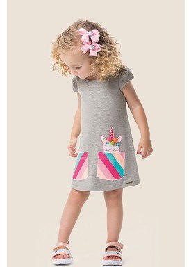 vestido cotton infantil feminino unicornio mescla marlan 62483 1