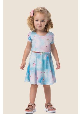 vestido malha colmeia infantil feminino floral azul marlan 62487 1