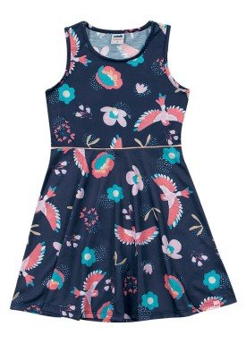 vestido meia malha infantil feminino passaros marinho marlan 64574