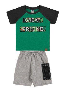 conjunto camiseta e bermuda infantil masculino great friend verde marlan 62496