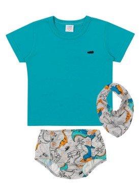 conjunto camiseta babador e tapa fraldas meia malha bebe masculino azul marlan 40482