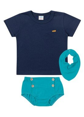 conjunto camiseta babador e tapa fraldas meia malha bebe masculino marinho marlan 40482