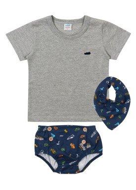 conjunto camiseta babador e tapa fraldas meia malha bebe masculino mescla claro marlan 40482