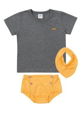 conjunto camiseta babador e tapa fraldas meia malha bebe masculino mescla escuro marlan 40482
