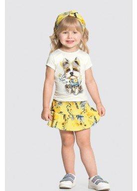 conjunto blusa e saia infantil feminino fashion dog amarelo alakazoo 31490 1