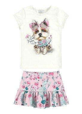conjunto blusa e saia infantil feminino fashion dog rosa alakazoo 31490
