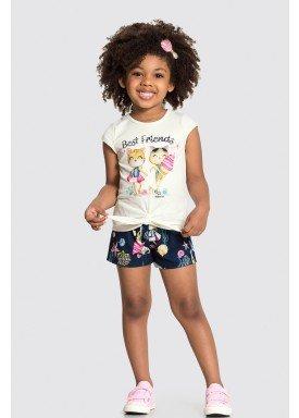 conjunto blusa e short infantil feminino best friends marinho alakazoo 31488 1