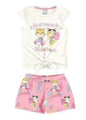 conjunto blusa e short infantil feminino best friends rosa alakazoo 31488