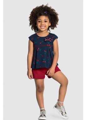 conjunto blusa e short infantil feminino cherries marinho alakazoo 31485 1