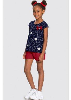 conjunto blusa e short infantil feminino coracoes marinho alakazoo 16071 1