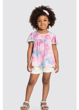 conjunto blusa e short infantil feminino flores rosa alakazoo 31487 1